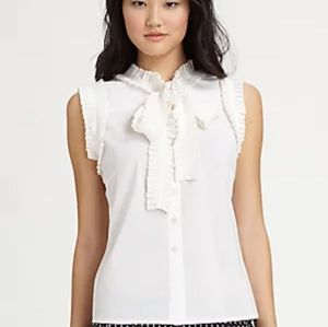 Tory Burch-White Prudence Blouse, Size 14-NWT